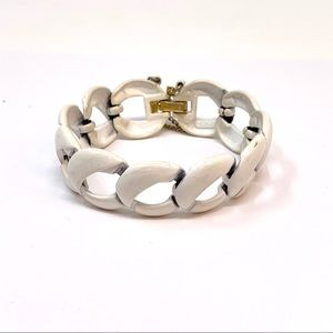 Vintage Signed Monet Bracelet White and Gold Tone